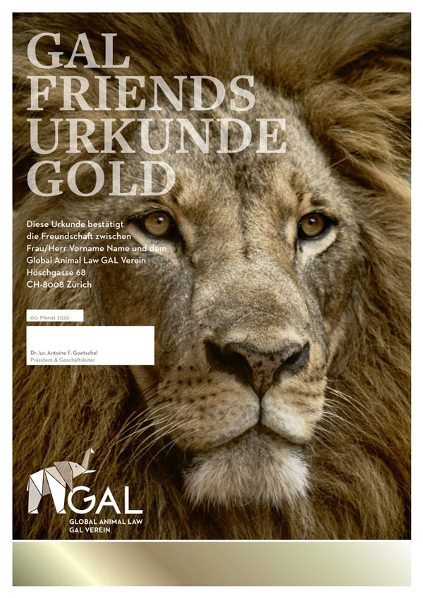Friends Gold certificate